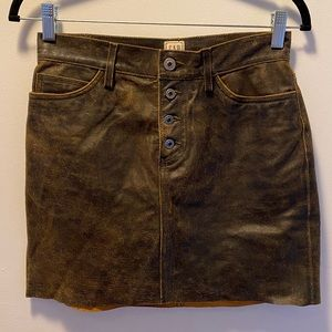 The Gap, vintage, brown leather mini skirt, size 2